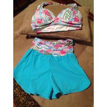 Conjunto Feminino Praia Shorts E Top Tam G | Q Chic