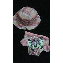 Conjunto Chapéu + Biquini Para Bebe Praia Minnie Mouse Rosa