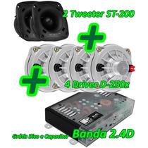 Kit Trio 2 Tweeter + 4 Driver Selenium + Amplificador Banda