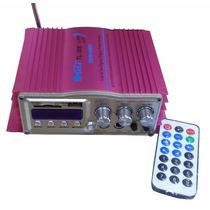 Modulo Amplificador Usb 2 Canais Com Karaoke Radio Fm E Mp3