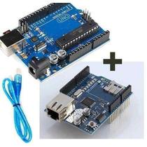 Arduino Uno R3 + Shield W5100 Ethernet Para Wifi E Internet