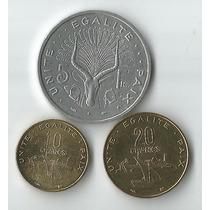 03 Moedas Diferentes Do Djibouti 5 A 20 Francs Todas Fc
