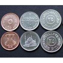 3 Moedas Diferentes Do Egito - 5 A 25 Piastre 2007/08 Fc