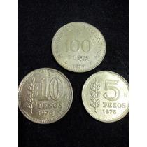 7 Moédas Da Argentina Antigas 100 Pesos 10 Pesos 20 Centavos