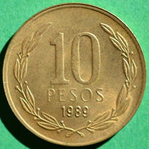 Moeda Antiga De 10 Pesos 1989 Chile.