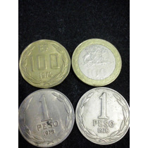 7 Moédas Do Chile 100 Pesos 10 Pesos 1 Peso