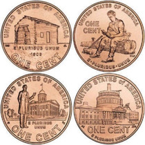 Set Comp 4 Moedas Usa Bicentenário 1 Cents Lincoln 2009 Fc