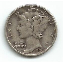 Moeda Estados Unidos 1 Dime 1941 Prata Mercury