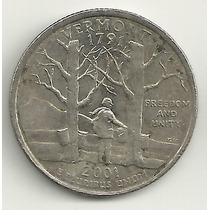 25 Cents/quarter Dolar - Eua - Vermont - Letra D