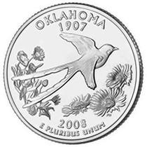 Moedas Estados Unidos 2008 Oklahoma Quarter Dolar Fc