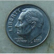 817 - Usa One Dime Liberty 2001, Letra D - Tocha 18mm
