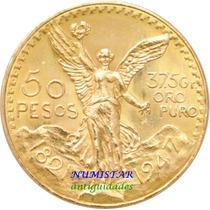 Moeda De Ouro Maciço 41.4 Gr 22 K 50 Pesos Mexicanos México