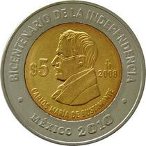 México - 5 Pesos 2008 (bimetálica) Bustamante