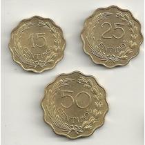 Lote Com 3 Moedas Do Paraguai - 15, 25 E 50 Cêntimos - Raro