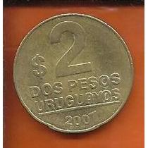 Moeda Uruguai 2 Pesos 2007 23mm Para Coleção