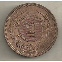 2 Centésimos 1869 - Uruguai - Cobre - Rara Nesse Estado