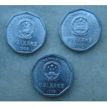 2998 China 3 Moedas 1 Yi Jiao, Alum 1993,1997,1998 - 22mm
