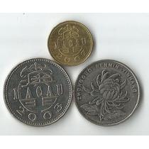 Lote 3 Moedas Da China 1 Pataca 1 Yuan E 10 Avos Fc