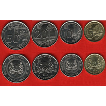 04 Moedas De Cingapura 5 A 50 Cents Fc