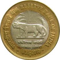 Índia - 10 Rúpias 2010 (bimetálica) Tigre