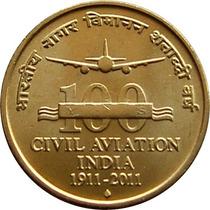 Moeda Da India 5 Ruppes 100 Anos Da Aviação Da India 2011 Fc