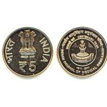 Moeda Da India 5 Ruppes 100 Anos Do Conselho De Medicina Fc