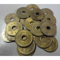 Lote De 5 ( Cinco ) Moedas De 5 Yens Do Japão.