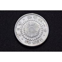 Moeda Antiga De 50 Sen De 1907 - Prata - Meiji - Japão