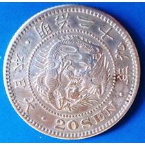Japao-moeda Prata- 20 Sen - Dragão - Perfeita