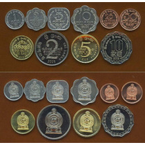Lote 10 Moedas Sri Lanka Set Competo 1 Cent-10 Rupee Fc