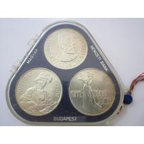 Hungria Estojo Com 3 Moedas De Prata 200 Forint 1977