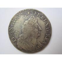 França Moeda Prata Half Ecu 1695 Luiz Xiv