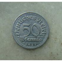 8167 Alemanha - 50 Pfennig 1921 F - Stuttgart , 23 Mm