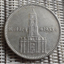 Moeda Prata Alemanha 2 Mark Igreja Datada Letra F(rara) 1934