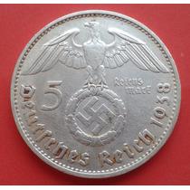 Raridade Moeda Prata Alemanha 5 Marks 1938 Patina Única