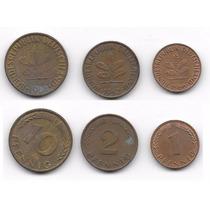 Trinca De 3 Antigas Moedas Alemãs 1, 2 E 10 Pfennig 62 E 66