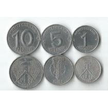 03 Moeda Da Alemanha Oriental 1 5 10 Pfennig Decada 40 E 50