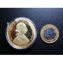 4 Ducatos Ouro Austria 1915 Banho Ouro 24 K Linda R$ 48,00