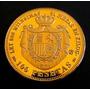 100 Pesetas 1870 Ouro 24 K 32 Mm 19,1 Gr. Banho Ouro R$ 65,0