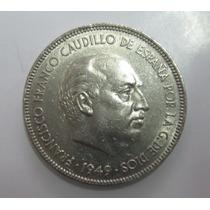 Espanha: Grande Moeda De 5 Pesetas 1949 (50) Soberba