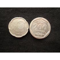 2 Moedas Da Espanha 50 E 200 Pesetas 1990 / 1987 Niquel
