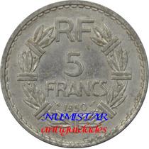 Elegante Antiga Moeda 5 Francs França 1950 Objetos Antigos