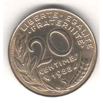 Moeda França - 20 Centimes - 1988 - Proof - 19mm