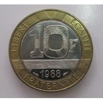 França: Bela Moeda 10 Francs De 1988 S/fc - Bimetálica