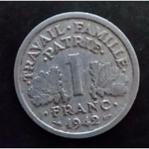 Moeda França Francesa - 1 Um Franc Franco - Ano 1942