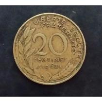 Moeda França Francesa - 20 Vinte Centimes - Ano 1963