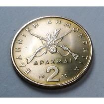 Moeda Da Grécia - 2 Drachmai - 1976 - Não Circulada - Fc