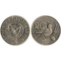 Moeda De Chipre 20 Cents 1985 27 Mm