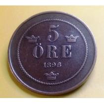 Bela E Valiosa Moeda Da Suécia - 1896 - Mbc / Soberba - Rara