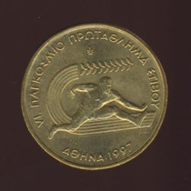 Moeda Grécia Campeonato De Atletismo 100 Drachmas 1997 30 Mm